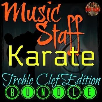 *MUSIC STAFF KARATE BUNDLE - Treble Clef Edition - ELEMENTARY MUSIC PPT GAME