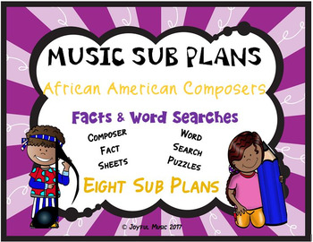 Music Sub Plans For African American Composers Facts Word Searches