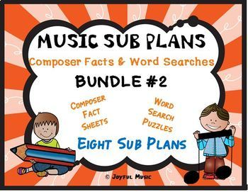 MUSIC SUB PLANS for Composers Facts & Word Searches BUNDLE #2