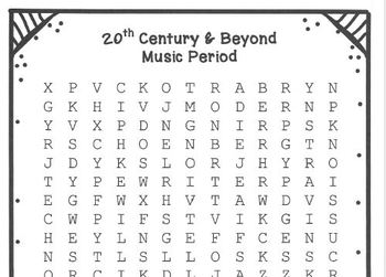 MUSIC SUB PLANS for MUSIC PERIODS Synopses and Word Searches