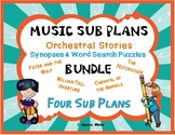 MUSIC SUB PLANS for ORCHESTRAL STORIES Synopses and Word Searches