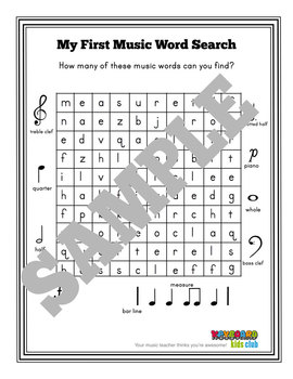 MUSIC SYMBOLS: My First Music Words Search