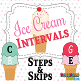 MUSIC: Summer Themed Ice Cream Cone Intervals Steps Skips Worksheets
