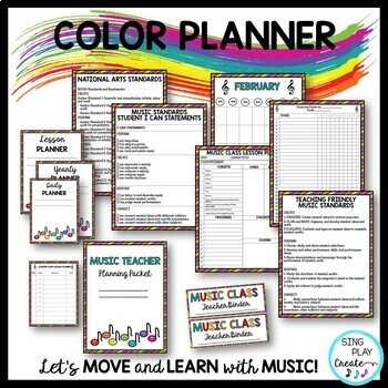Music Teacher Basic Planner for Lessons, Concerts,Day-Week-Quarter-Year-Editable