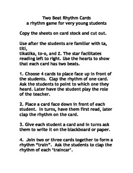 MUSIC:TWO BEAT RHYTHM CARDS - a game for very young students