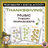 Thanksgiving Music Activities: 24 Music Thanksgiving Theory Worksheets