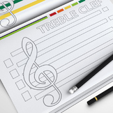 MUSIC: The Musical Staff - Treble, Alto and Bass Clef (Coloring Page)