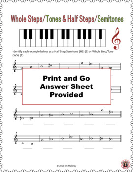 Whole Steps/Tones and Half Steps/Semitones Worksheets