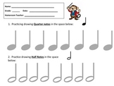 MUSIC WORKSHEET- DRAW QUARTER NOTES & HALF NOTES -GREAT FOR MUSIC SUBSTITUTES!