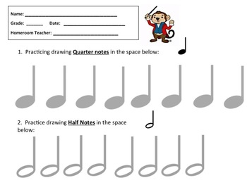Music Worksheet Draw Quarter Notes Half Notes