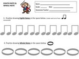 MUSIC WORKSHEET- DRAWNG EIGHTH NOTES & WHOLE NOTES- GREAT FOR MUSIC SUBSTITUTES!