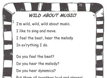 MUSIC & WRITING Wild About Music! K-5th Common Core-Song, ORFF, Writing Prompts