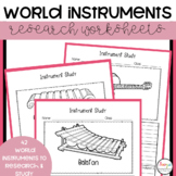 World Instruments Music Worksheets