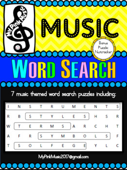 MUSIC word searches: instruments, terms, styles, symbols, & solfege (8 total)