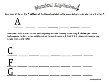 MUSICAL ALPHABET WORKSHEET -COLORING PAGE!!! Great for Subs and Assessment