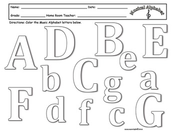 MUSICAL ALPHABET WORKSHEET -COLORING PAGE!!! Great for Sub