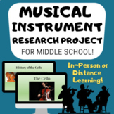 MUSICAL INSTRUMENT RESEARCH PROJECT for Middle School General Music