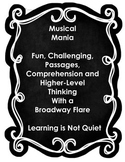 BROADWAY MUSICAL MANIA READING TEST PREP (Fun analyzing 30 Musical Numbers)