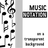 MUSICAL NOTATION ON A TRANSPARENT BACKGROUND