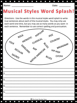 "MUSICAL STYLES WORD SPLASH! GREAT ""BACK TO SCHOOL"" ACTIVITY!"