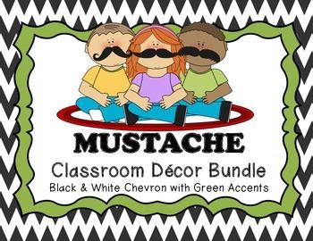 MUSTACHE Classroom Decor Bundle (Black & White Chevron with Lime Green)