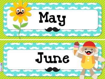 MUSTACHE MOUSTACHE Themed Calendar Display Set