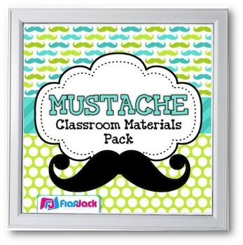 MUSTACHE MOUSTACHE Themed Classroom Decor Materials Pack
