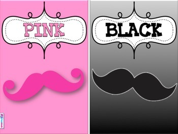MUSTACHE MOUSTACHE Themed Color Cards Posters
