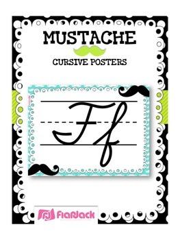MUSTACHE MOUSTACHE Themed Cursive Alphabet Posters