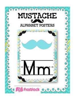 MUSTACHE MOUSTACHE Themed Manuscript Alphabet Posters