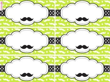 MUSTACHE MOUSTACHE Themed Name Tags Plates