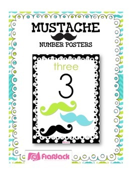 MUSTACHE MOUSTACHE Themed Number Posters 0 to 20