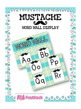 MUSTACHE MOUSTACHE Themed Word Wall Alphabet