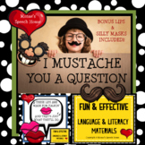 MUSTACHE SILLY MASKS  classroom fun back to school Speech therapy