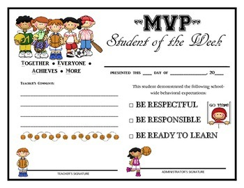 MVP Student of the Week Certificate * Sports or Team Theme PBS/PBIS