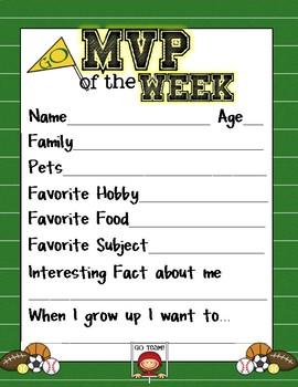 MVP of the WEEK information sheet