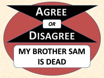 MY BROTHER SAM IS DEAD - Agree or Disagree Pre-reading Activity