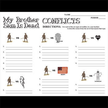 MY BROTHER SAM IS DEAD Conflict Graphic Organizer - 6 Types of Conflict