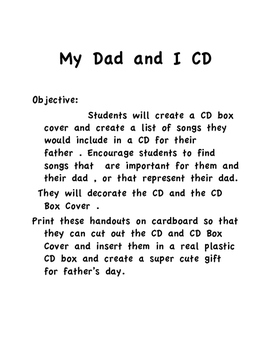 MY DAD AND I CD GIFT PROJECT FOR FATHERS DAY
