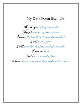 MY DUTY POETRY PROJECT