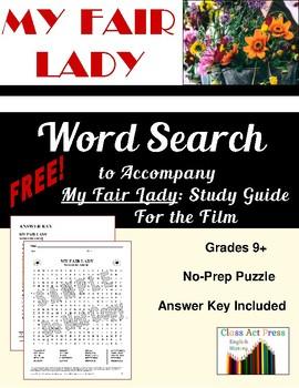 MY FAIR LADY Word Search FREE