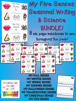 MY FIVE SENSES Seasonal Writing Science BUNDLE 8 Writing B