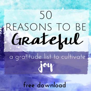 MY GRATITUDE LIST *A Positive Psychology Worksheet to Cultivate Joy *Freebie