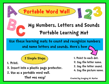 MY NUMBERS, LETTERS and SOUNDS PORTABLE LEARNING MAT