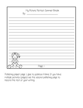 MY PICTURE PERFECT SUMMER BREAK WRITING PROMPT/WRITING PROCESS PACK AND CRAFT