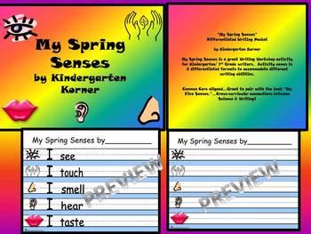 MY SPRING SENSES WRITING PROMPT ACTIVITY KINDERGARTEN 1st 2nd