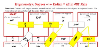 Maze - BUNDLE Trigonometry - Radians to and from Degrees