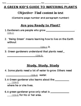 MY VIEW LITERACY BY PEARSON-A GREEN KID'S GUIDE TO WATERING PLANTS- PICTURE WALK