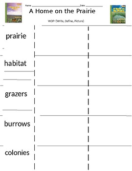 MY VIEW LITERACY BY PEARSON-A HOME ON THE PRAIRIE-WDP VOCABULARY
