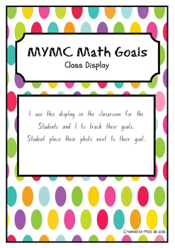 MYMC Math Goals - Goal Poster Class Display